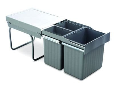 Pull-out waste bin, 1 x 16 ltr and 2 x 7.5 ltr,  full extension runners, grey